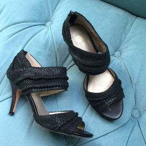Isola faux reptile strappy heels pumps